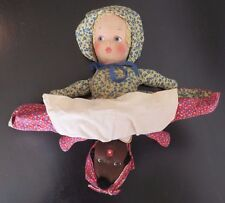 *Rare* Antique Early 1900s Topsy Turvy Cloth Doll Hand Sewn/Painted Black/White