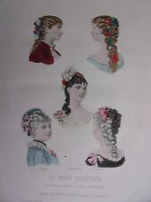 GRAVURE EN COULEUR MODE ILLUSTREE 1883 N° 2 COIFFURES MADAME CAMILLE BOUTIN