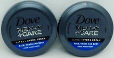 2 DOVE Men + Care Ultra Hydra Cream Face, Hands & Body 2.53oz 75ml Sealed