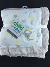 Child of Mine White Lamb Sheep Stars Baby Blanket New Carter's Gray Trim