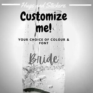 Personalized Name Vinyl Decal Bride Bridesmaid Wedding Glass Gift Custom Sticker