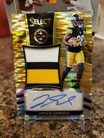 🔥JAYLEN SAMUELS SELECT ROOKIE 3 COLOR PATCH AUTO /23 NC STATE STEELERS🔥