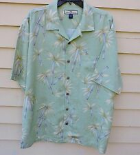 Tommy Bahama L Pale Green Print SILK S/S Shirt Palm Tree Bamboo Shoots Box Cut
