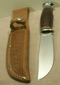 1950's~KABAR 1205 USA~UNUSED~VINTAGE HUNTING & FIGHTING KNIFE w/LEATHER SHEATH~