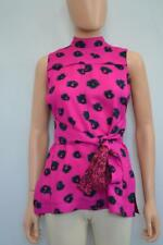 Proenza Schouler Fuschia/Black Abstract Belted Mock Neck SLV Blouse/Top Size 0