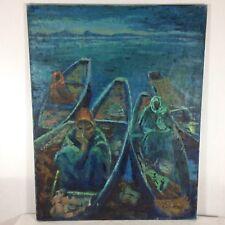 """Sylvia Molloy (1914-2008) """"peces para la venta"""" óleo sobre lienzo 91.5cm impresionista"""