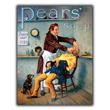 PLACCA di Metallo Segno Muro Pears soap barbiere vintage con stampa arredamento bagno