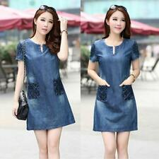 Women's Denim Jeans Dress Pocket Short Sleeve Casual Tops Shirt Mini Dress JJ