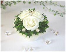 Tischdeko II Tischdekoration Hochzeit, Taufe, Kommunion, Tischgesteck weiß-creme