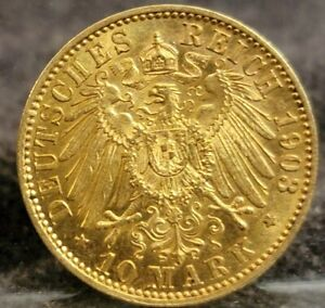 1903 Germany Prussia Gold 10 Mark / Ten Gold Marks Wilhelm II  #M0113