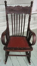 American Turn of the Century Child's Children's Press Back Rocker Rocking Chair
