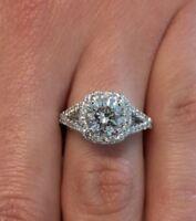 3.00 ct VS1/F Round Cut Diamond Cushion Halo Engagement Ring 14K White Gold