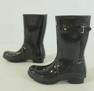 Hunter Women's Original Short Gloss Pull-On Rubber Rain Boots JQ2 Grey Size US:8