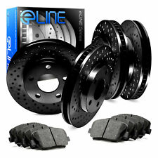 For Lexus IS350, IS200t Front Rear Black Drilled Brake Rotors+Ceramic Brake Pads