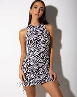 MOTEL ROCKS Ardilla Bodycon Dress in 90's Zebra M Medium (mr43)