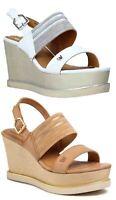 WRANGLER THALIA JEENA scarpe sandali donna pelle tessuto zeppa plateau tacco