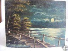 antique oil painting moonlit lake wooden bridgeOriginal