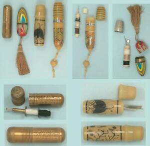4 Vintage Pocket Sewing Kits * European * Circa 1930-40