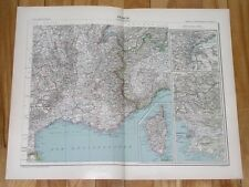 1906 ORIGINAL ANTIQUE MAP SOUTHERN FRANCE FRENCH RIVIERA MARSEILLE VER