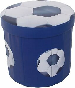 Blue Football Children Kids Folding Storage Ottoman Seat Toy Box Foot Stool Rest