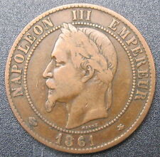 10 CENTIMES NAPOLEON III - 1861 A - Tête Laurée