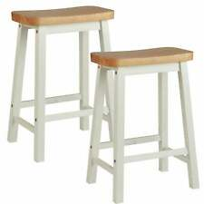 Pair of Hand Painted Curved Seat Wooden Bar Stools - White