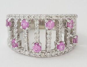 1.30 ct 14K White Gold Pink Sapphire & Round Cut Diamond Fashion Ring