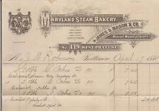 1884 MARYLAND Steam Bakery James D Mason & Co Biscuit Manufacturers BALTIMORE MD