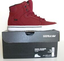 New Supra Vaider Kids Burgundy White Sneakers Skate Shoe Size 3C