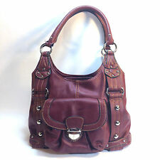 radiant WILSON crimson red leather nail head hobo tote bag
