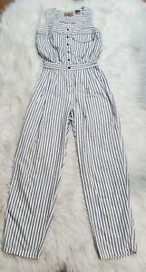 Vintage 80s Womens Lizwear Romper Jumpsuit White With Black Stripes Size Medium
