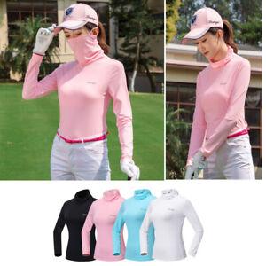 Women Sun/UV Protection T-shirt Top Compression Shirt Rash Guard with Mask