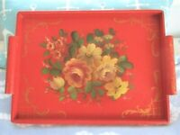 Antique Hand Painted Red Wood Floral Buffet Serving Fireplace Mantle Tole Tray