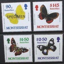 MONTSERRAT 1987 Butterflies Overprinted SPECIMEN. Set of 4. MNH. SG730/733.