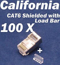 100 X Pcs CAT6 Shielded w Load Bar Insert RJ45 Network LAN Cable Modular Plug 8P