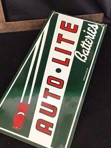 Vintage auto lite batteries porcelain sign