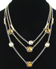 Kenneth Cole New York 'Jeweled Elements' Topaz Hued Bead Illusion Necklace