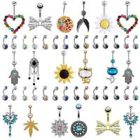 14PCS/LOT 316L Stainless Steel Navel Belly Button Ring Set Body Piercing Jewelry
