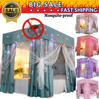 Mosquitoproof Lightproof 4 Corner Bed Curtain Canopy +Mosquito Net+ Frame Post