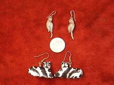 NICE PAIR OF VTG STERLING SILVER KITTY CAT EARRINGS, MOVING TAIL + BLACK/WHITE