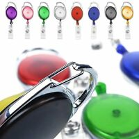 20PCS Retractable Reel Pull Key ID Card Badge Tag Clip Holder Carabiner Style