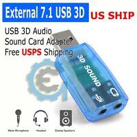 External USB 2.0 to 3D Virtual Audio Sound Card Adapter Converter 7.1 CH