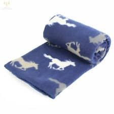 País Granja Caballo Manta Cobertor de Vellón Suave de impresión Azul Marino Gris Blanco 120 X 150cm