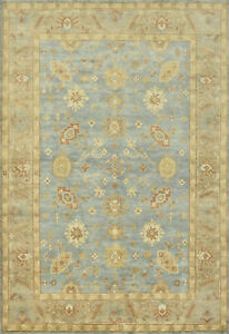Oushak Rug, 6'x9', Blue/Brown, Hand-Knotted Wool Pile