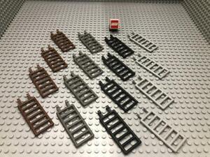 LEGO® 4x Leiter Absperrung Zaun - Hellgrau Dunkelgrau Schwarz Alt-Braun - 6020