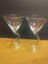 Set of 2 Clear Glass Stoli Martini Glasses (Unique Z Shape Crooked Stem!)