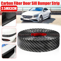 2.5M 3cm Car Carbon Fiber Rubber Door Sill Protector Edge Guard Strip Universal