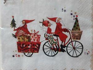 Servietten Weihnachtsfahrrad, Nikolaus + Engel Silke Leffler Grätz Verlag