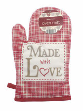 Country Club Made with Love Single Oven Mitt Glove Gauntlet Red Hearts Kitchen
