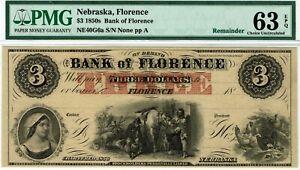 $3 Bank of Florence Nebraska.  PMG 63 EPQ Choice Uncirculated. Horse, chickens.